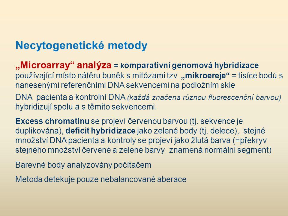 """Necytogenetické metody """"Microarray"""" analýza = k omparativní genomová hybridizace používající místo nátěru buněk s mitózami tzv. """"mikroereje"""" = tisíce"""