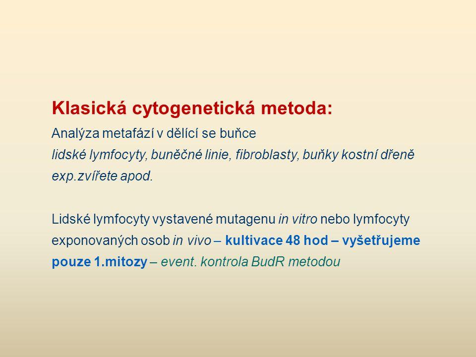 Klasická cytogenetická metoda: Analýza metafází v dělící se buňce lidské lymfocyty, buněčné linie, fibroblasty, buňky kostní dřeně exp.zvířete apod. L