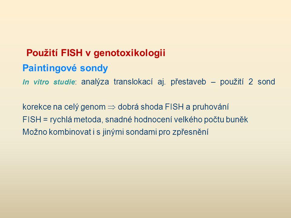 Použití FISH v genotoxikologii Paintingové sondy In vitro studie: analýza translokací aj. přestaveb – použití 2 sond korekce na celý genom  dobrá sho