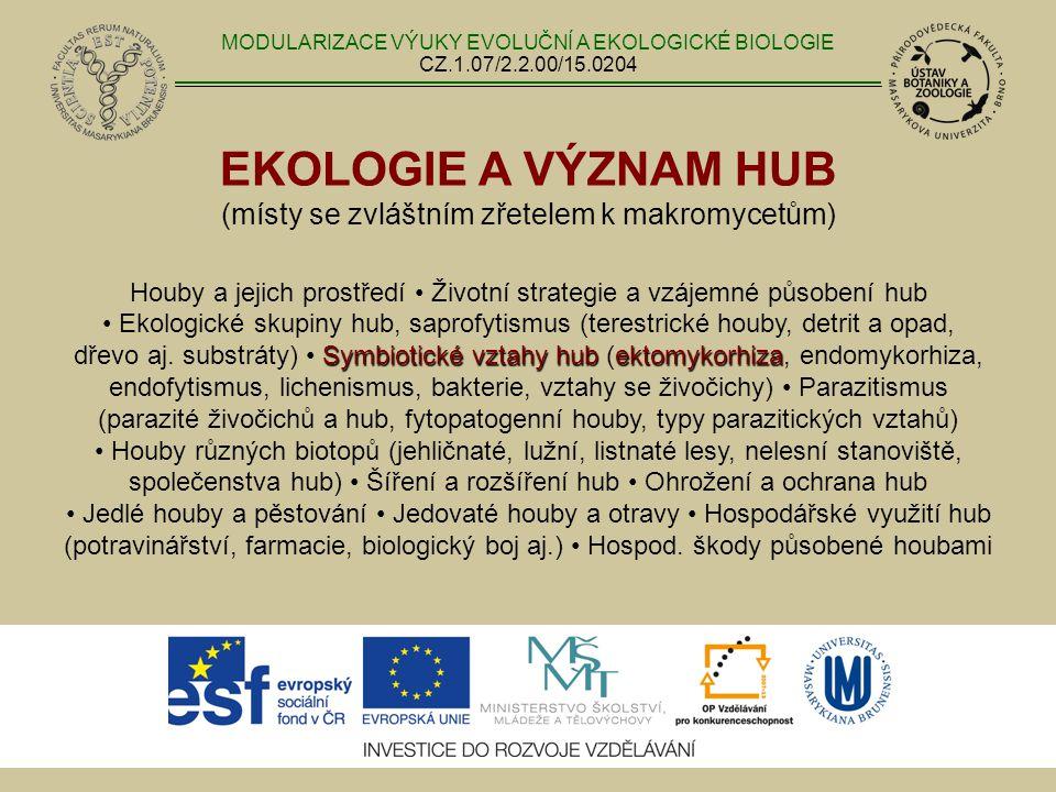 EKOLOGIE A VÝZNAM HUB (místy se zvláštním zřetelem k makromycetům) Symbiotické vztahy hubektomykorhiza Houby a jejich prostředí Životní strategie a vz