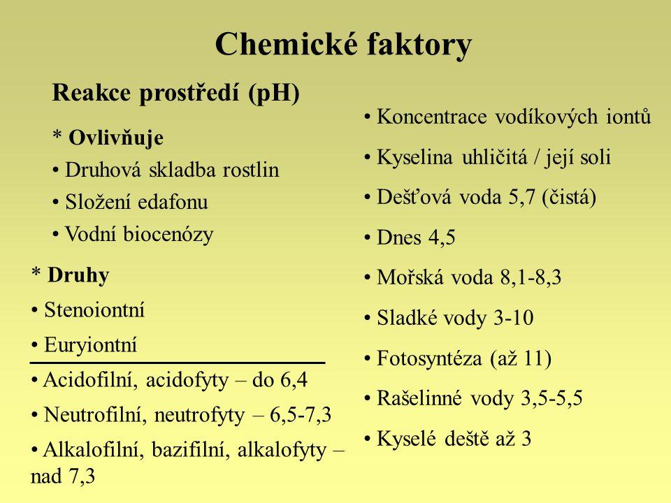 Chemické faktory Salinita – obsah solí v půdě a ve vodě Koncentrace chloridů, uhličitanů, síranů a dusičnanů vápníku, hořčíku, sodíku a draslíku Sladká voda – do 0,1 % solí Oceány – 3,5 % Okrajová moře – méně (Baltské 0,8, Černé 1,8 %) Vnitrozemské saliny – až 25 % Slaniska * Adaptace Překonání osmotického tlaku Odstraňování soli * Druhy Halobiontní, halofyty Halofobní Halofilní