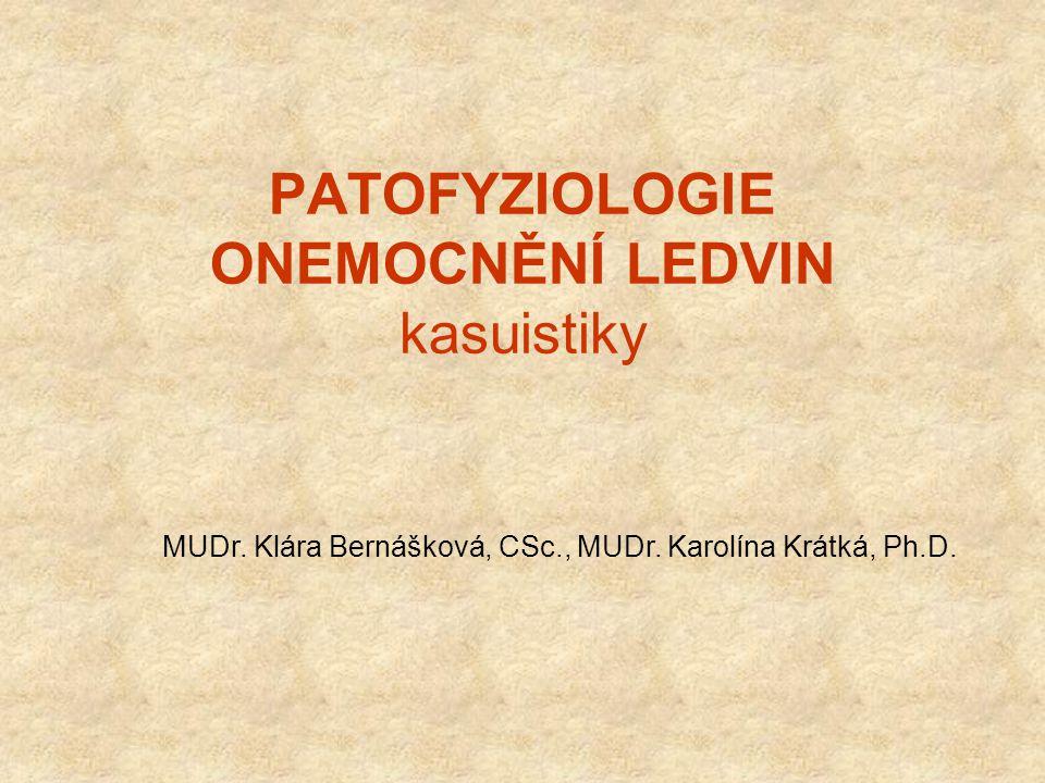 PATOFYZIOLOGIE ONEMOCNĚNÍ LEDVIN kasuistiky MUDr. Klára Bernášková, CSc., MUDr. Karolína Krátká, Ph.D.