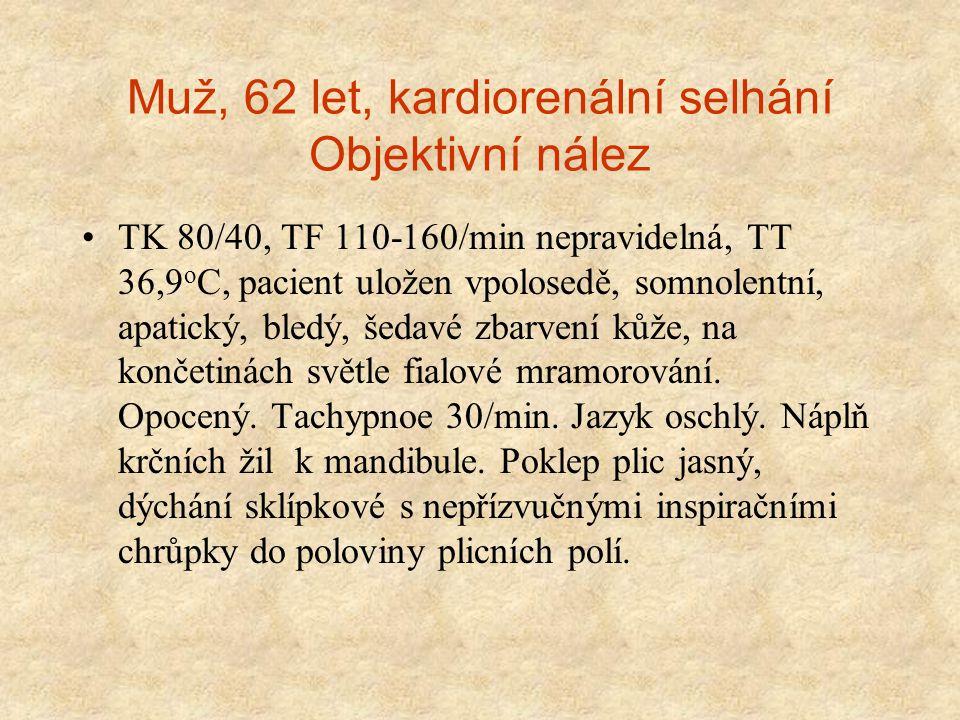 Muž, 62 let, kardiorenální selhání Objektivní nález TK 80/40, TF 110-160/min nepravidelná, TT 36,9 o C, pacient uložen vpolosedě, somnolentní, apatick