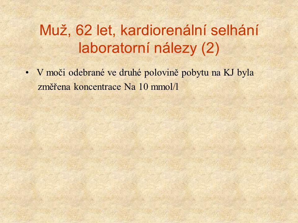 Muž, 62 let, kardiorenální selhání laboratorní nálezy (2) V moči odebrané ve druhé polovině pobytu na KJ byla změřena koncentrace Na 10 mmol/l