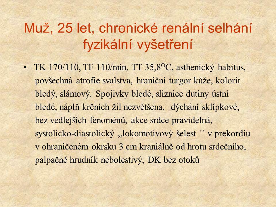 Muž, 25 let, chronické renální selhání fyzikální vyšetření TK 170/110, TF 110/min, TT 35,8 O C, asthenický habitus, povšechná atrofie svalstva, hranič
