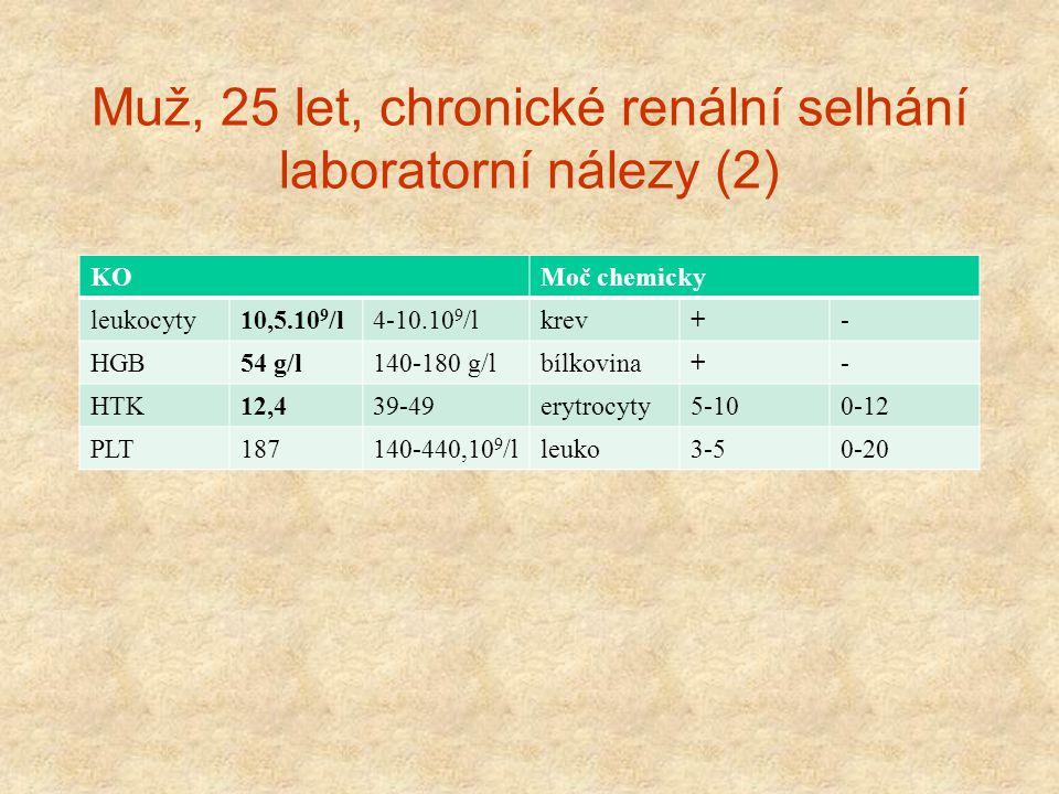 Muž, 25 let, chronické renální selhání laboratorní nálezy (2) KOMoč chemicky leukocyty10,5.10 9 /l4-10.10 9 /lkrev+- HGB54 g/l140-180 g/lbílkovina+- H