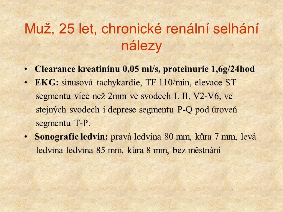 Muž, 25 let, chronické renální selhání nálezy Clearance kreatininu 0,05 ml/s, proteinurie 1,6g/24hod EKG: sinusová tachykardie, TF 110/min, elevace ST