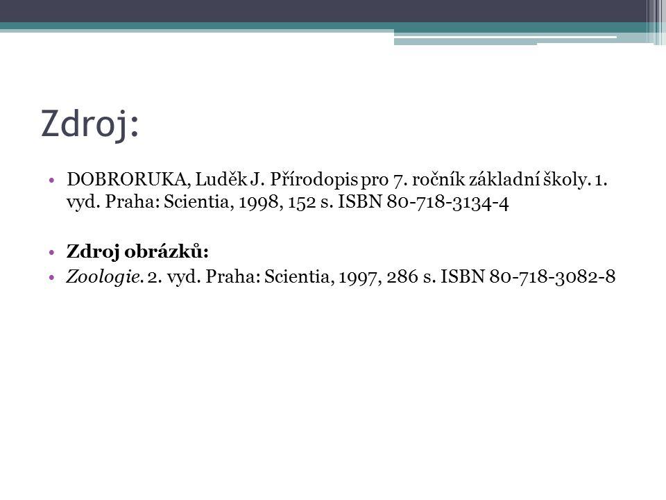 Zdroj: DOBRORUKA, Luděk J. Přírodopis pro 7. ročník základní školy. 1. vyd. Praha: Scientia, 1998, 152 s. ISBN 80-718-3134-4 Zdroj obrázků: Zoologie.