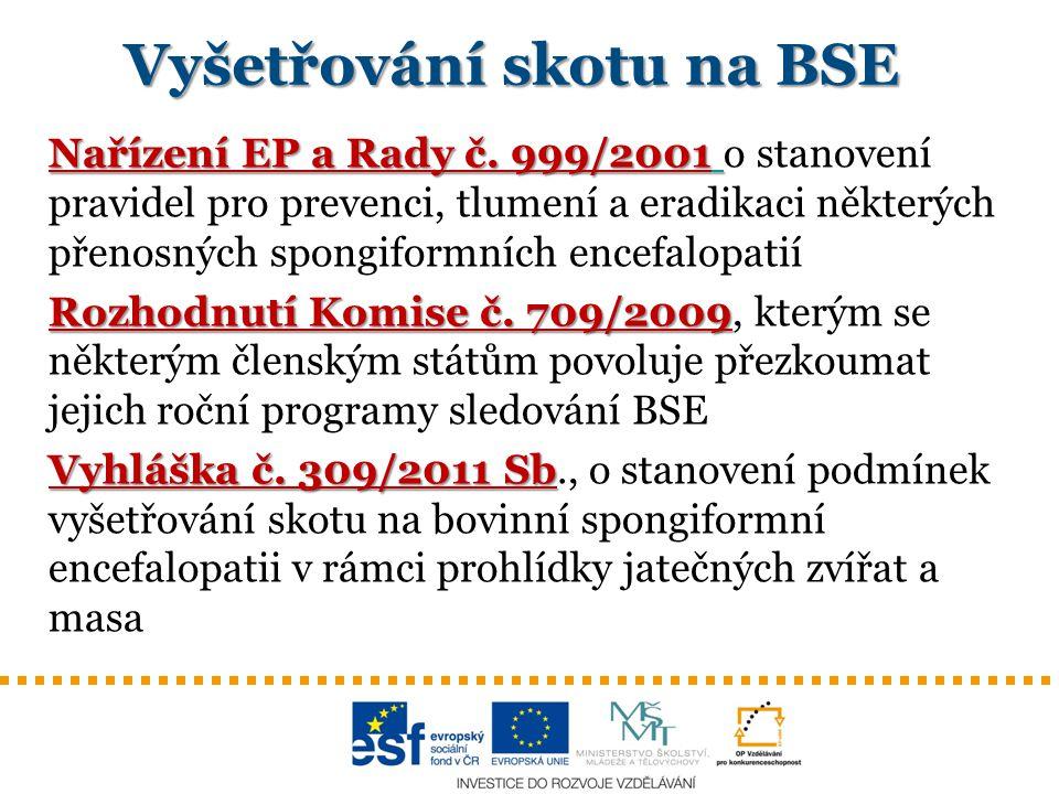 Nařízení EP a Rady č. 999/2001 Nařízení EP a Rady č. 999/2001 o stanovení pravidel pro prevenci, tlumení a eradikaci některých přenosných spongiformní