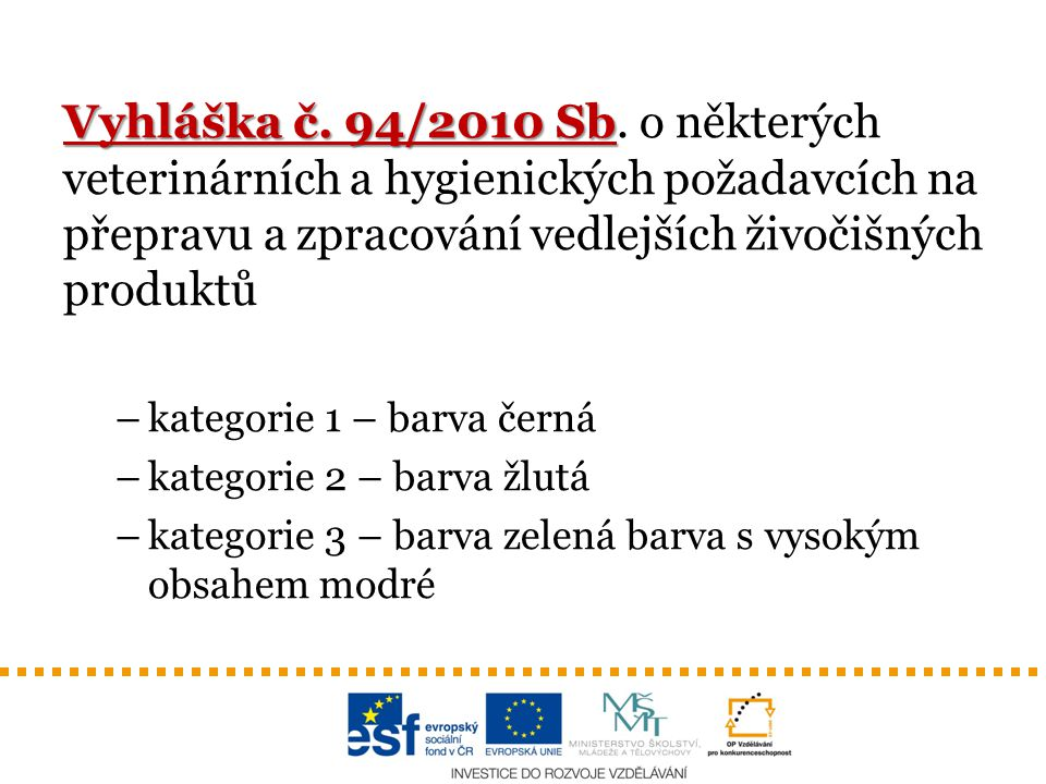 Vyhláška č. 94/2010 Sb Vyhláška č. 94/2010 Sb. o některých veterinárních a hygienických požadavcích na přepravu a zpracování vedlejších živočišných pr