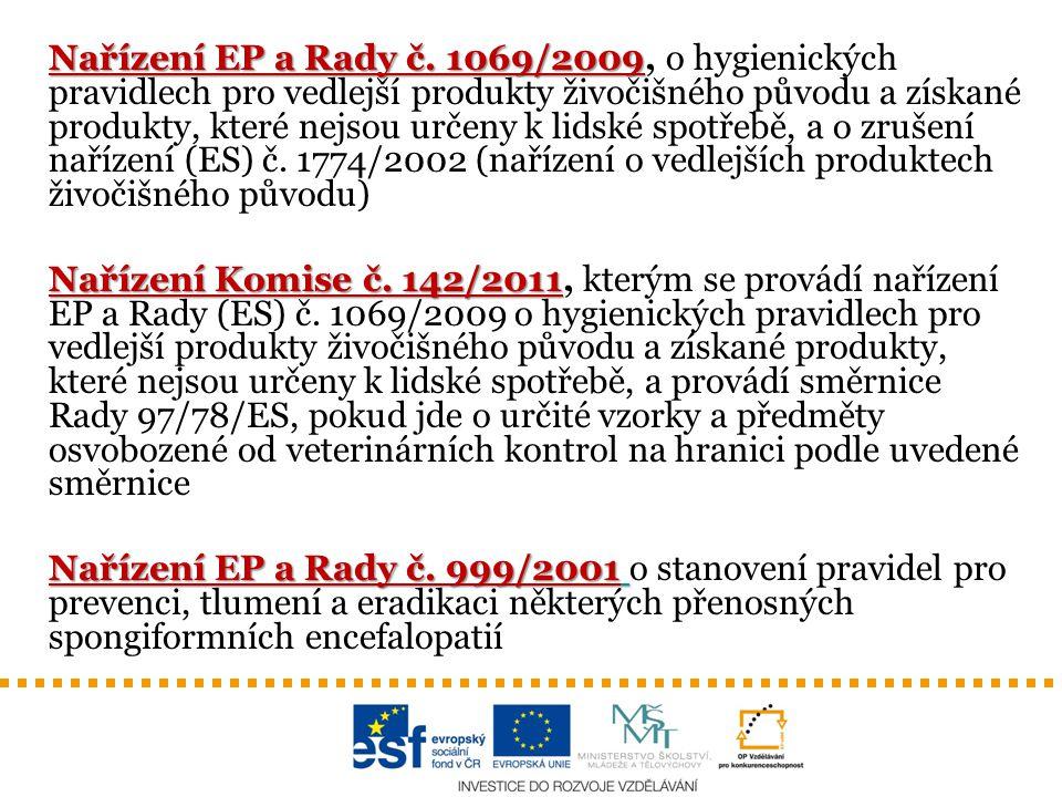 Nařízení EP a Rady č. 1069/2009 Nařízení EP a Rady č. 1069/2009, o hygienických pravidlech pro vedlejší produkty živočišného původu a získané produkty