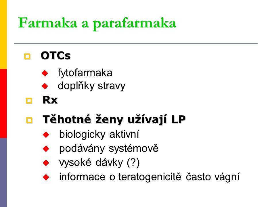  OTCs u fytofarmaka u doplňky stravy Farmaka a parafarmaka  Těhotné ženy užívají LP u biologicky aktivní u podávány systémově u vysoké dávky (?) u i