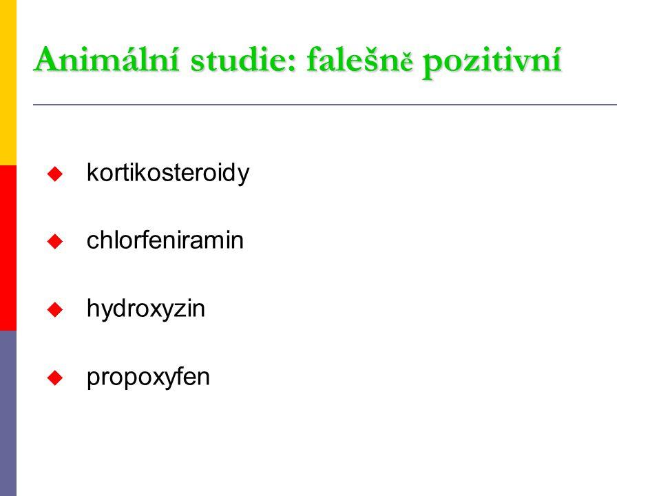 Animální studie: falešn ě pozitivní u kortikosteroidy u chlorfeniramin u hydroxyzin u propoxyfen
