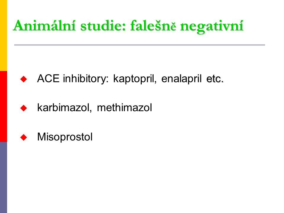 Animální studie: falešn ě negativní etc. u ACE inhibitory: kaptopril, enalapril etc. u karbimazol, methimazol u Misoprostol
