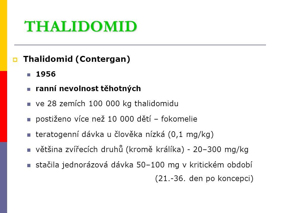 THALIDOMID  Thalidomid (Contergan) 1956 ranní nevolnost těhotných ve 28 zemích 100 000 kg thalidomidu postiženo více než 10 000 dětí – fokomelie tera