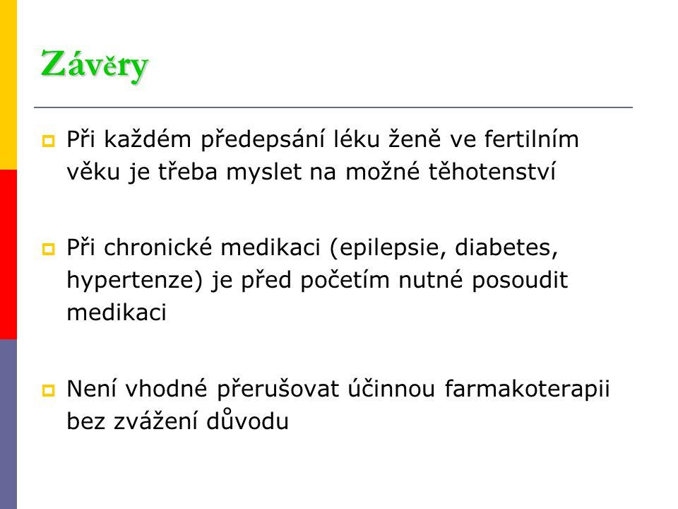 Záv ě ry  Při každém předepsání léku ženě ve fertilním věku je třeba myslet na možné těhotenství  Při chronické medikaci (epilepsie, diabetes, hyper