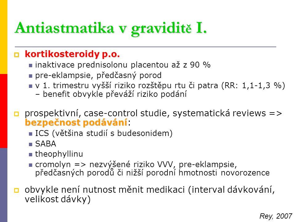 Antiastmatika v gravidit ě I.  kortikosteroidy p.o. inaktivace prednisolonu placentou až z 90 % pre-eklampsie, předčasný porod v 1. trimestru vyšší r