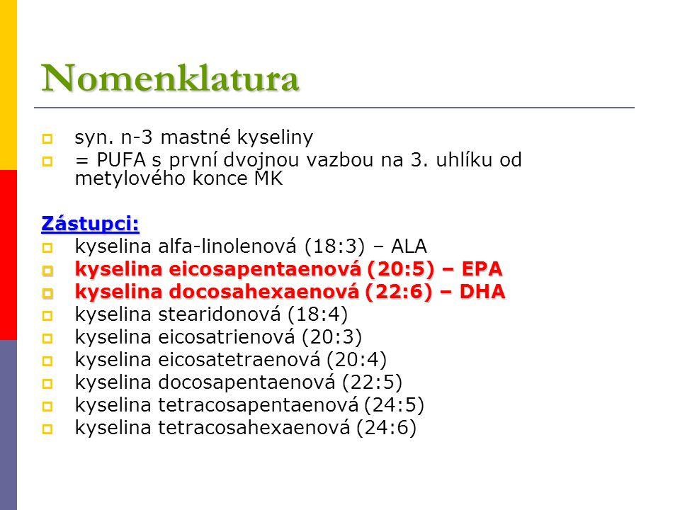 Nomenklatura  syn. n-3 mastné kyseliny  = PUFA s první dvojnou vazbou na 3. uhlíku od metylového konce MKZástupci:  kyselina alfa-linolenová (18:3)