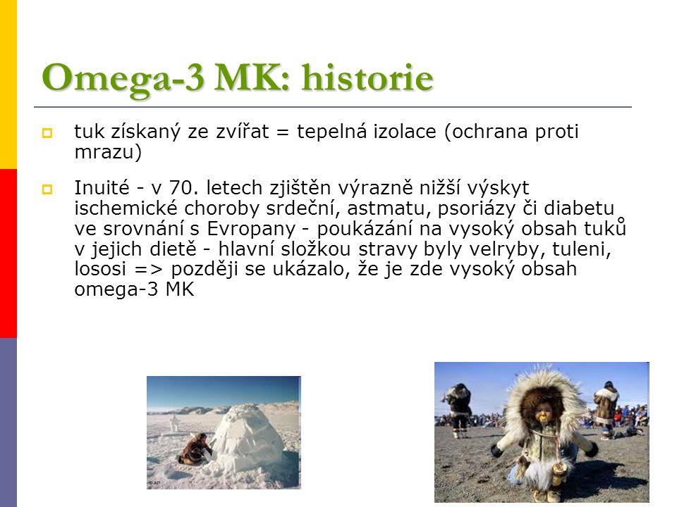 Omega-3 MK: historie  tuk získaný ze zvířat = tepelná izolace (ochrana proti mrazu)  Inuité - v 70. letech zjištěn výrazně nižší výskyt ischemické c