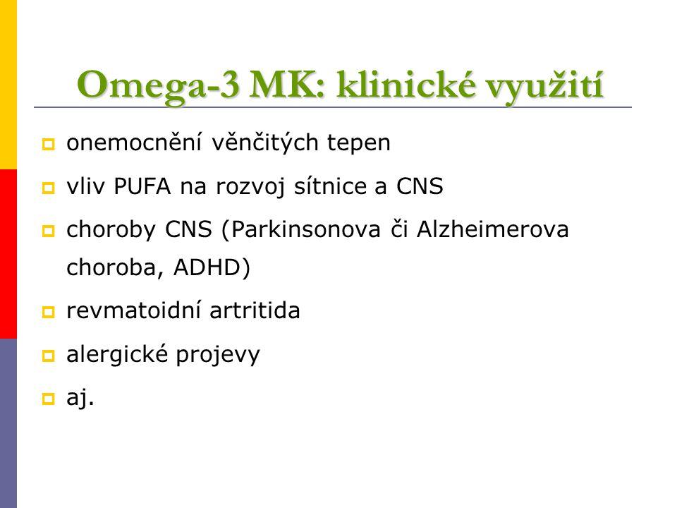 Omega-3 MK: klinické využití  onemocnění věnčitých tepen  vliv PUFA na rozvoj sítnice a CNS  choroby CNS (Parkinsonova či Alzheimerova choroba, ADH