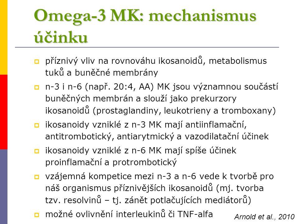 Omega-3 MK: mechanismus účinku  příznivý vliv na rovnováhu ikosanoidů, metabolismus tuků a buněčné membrány  n-3 i n-6 (např. 20:4, AA) MK jsou význ