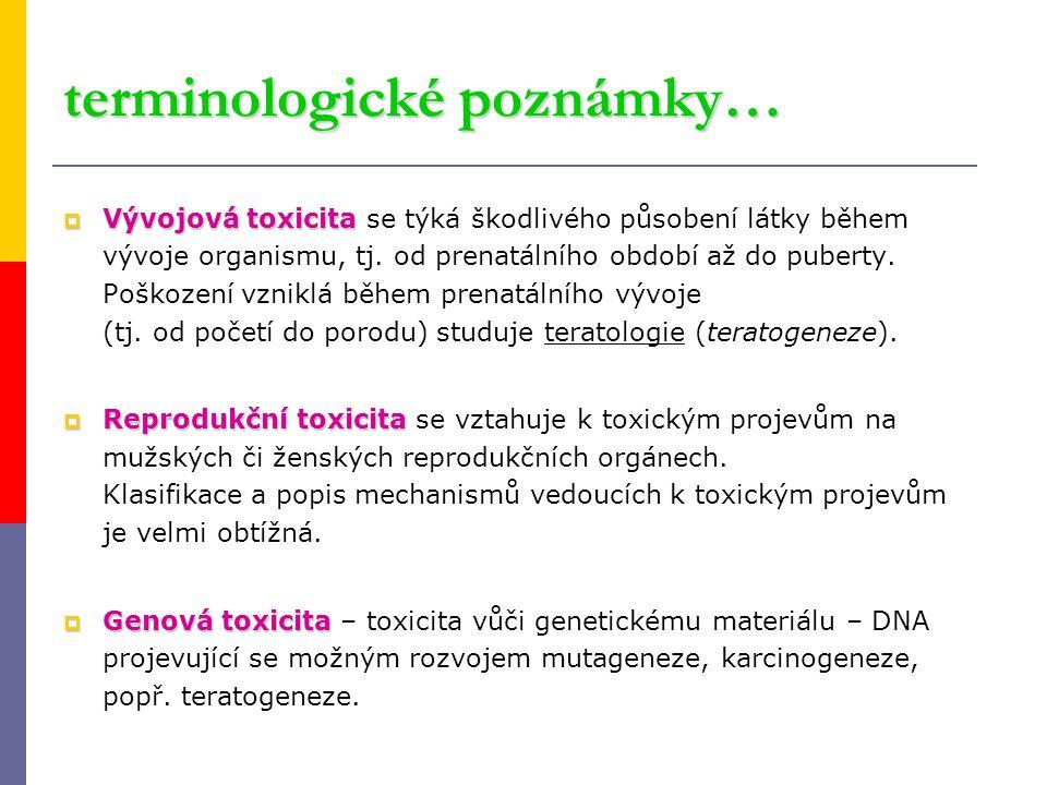 terminologické poznámky…  Vývojová toxicita  Vývojová toxicita se týká škodlivého působení látky během vývoje organismu, tj. od prenatálního období