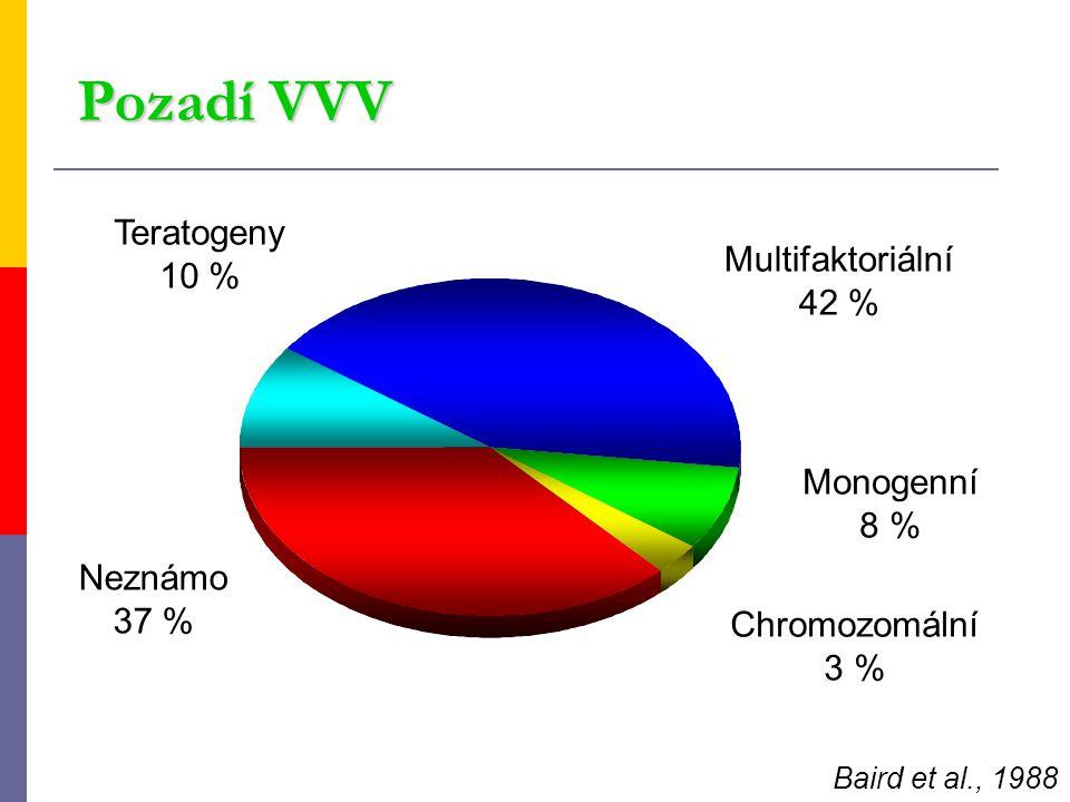 Multifaktoriální 42 % Neznámo 37 % Chromozomální 3 % Monogenní 8 % Teratogeny 10 % Baird et al., 1988 Pozadí VVV