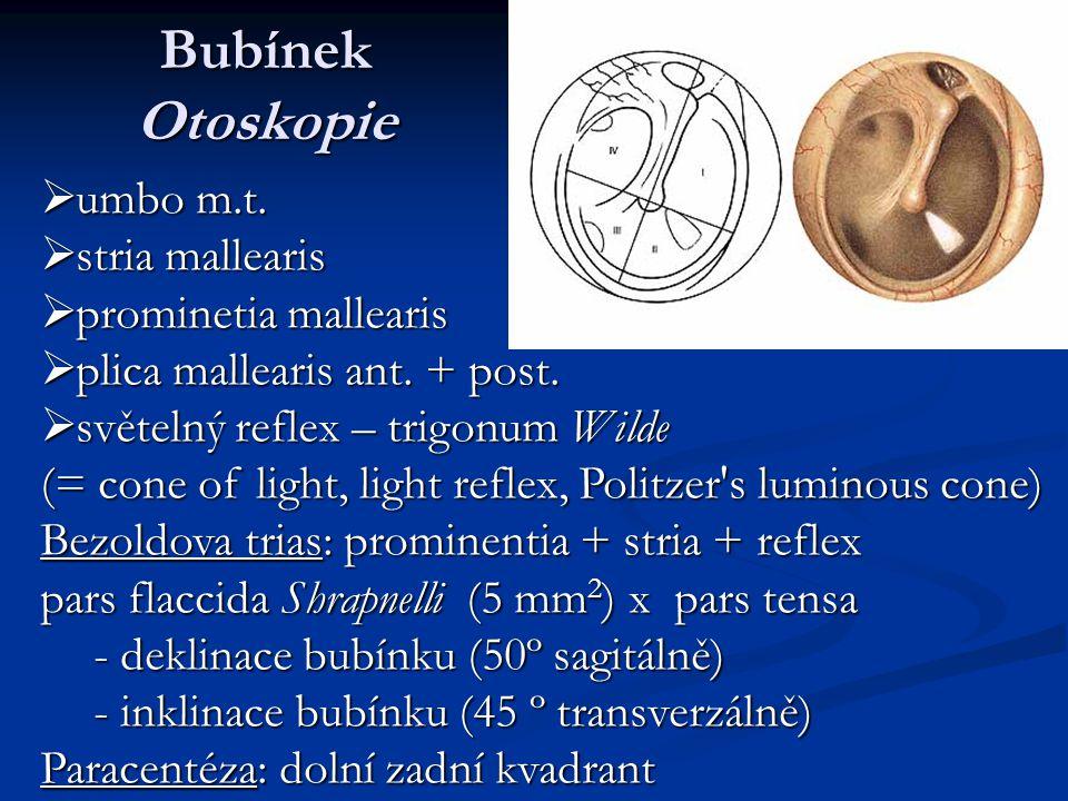 Bubínek Otoskopie  umbo m.t.  stria mallearis  prominetia mallearis  plica mallearis ant. + post.  světelný reflex – trigonum Wilde (= cone of li