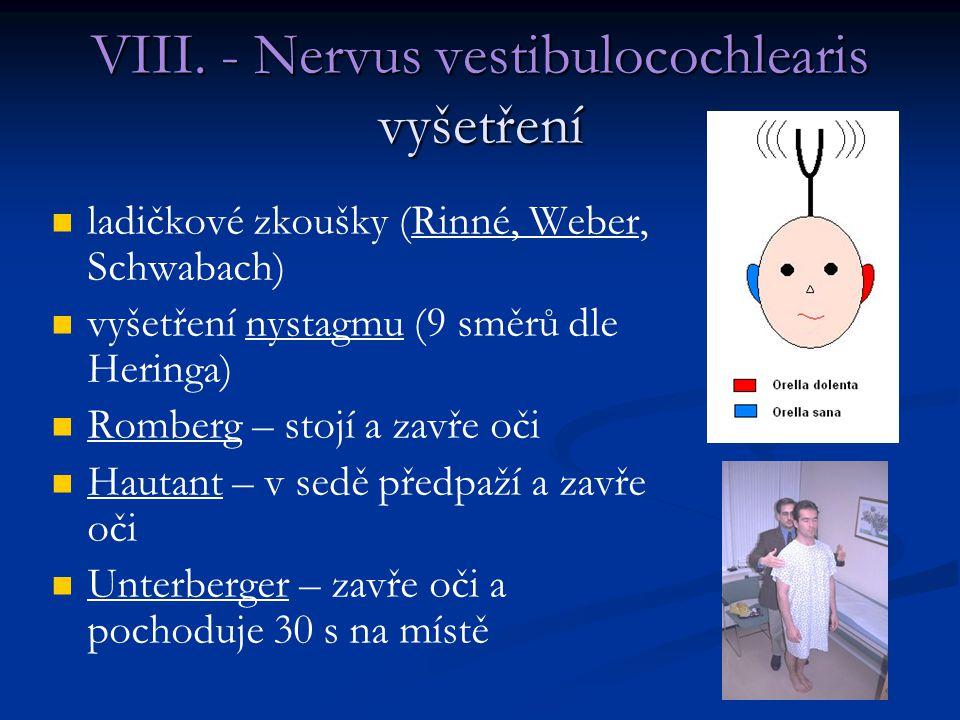 ladičkové zkoušky (Rinné, Weber, Schwabach) vyšetření nystagmu (9 směrů dle Heringa) Romberg – stojí a zavře oči Hautant – v sedě předpaží a zavře oči