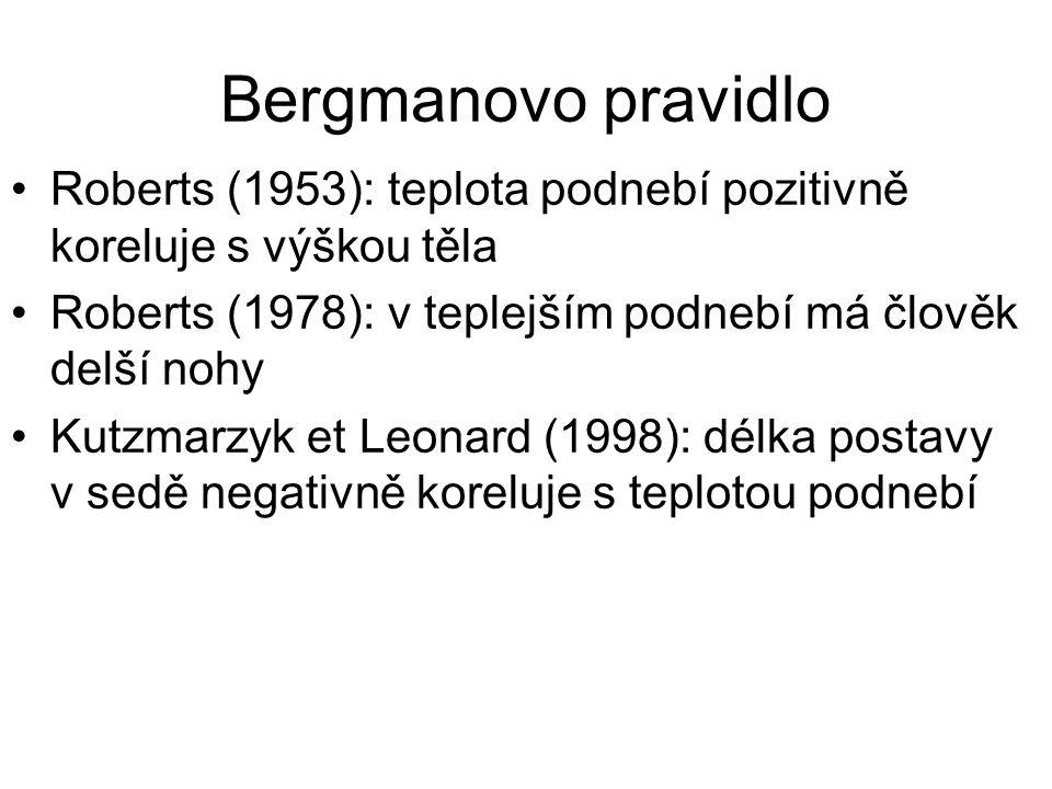 Bergmanovo pravidlo Roberts (1953): teplota podnebí pozitivně koreluje s výškou těla Roberts (1978): v teplejším podnebí má člověk delší nohy Kutzmarz