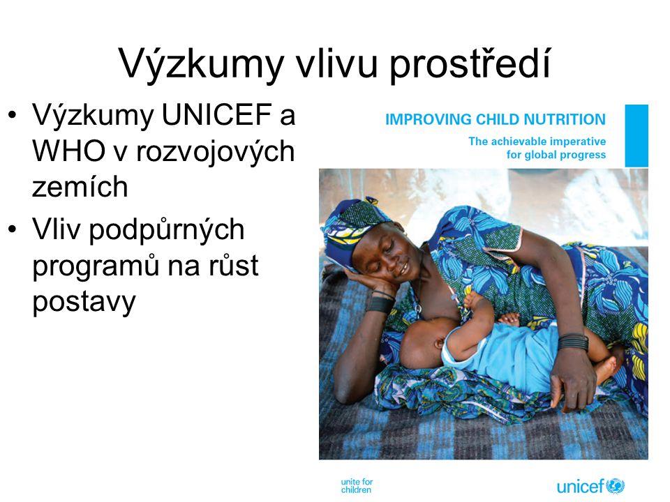 Výzkumy vlivu prostředí Výzkumy UNICEF a WHO v rozvojových zemích Vliv podpůrných programů na růst postavy