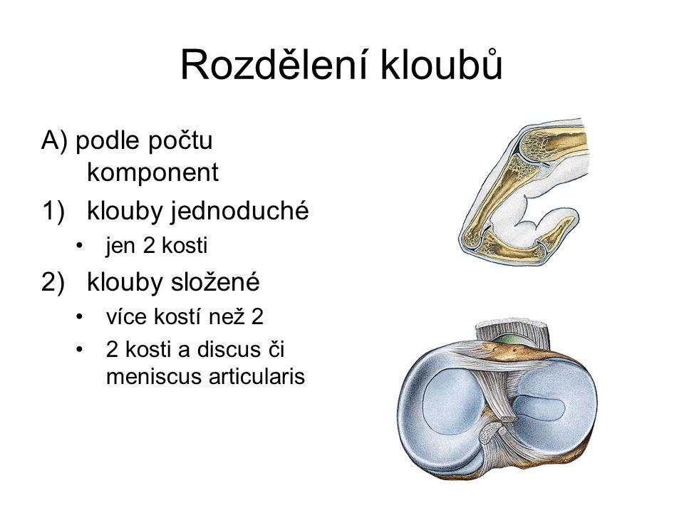 Rozdělení kloubů A) podle počtu komponent 1)klouby jednoduché jen 2 kosti 2)klouby složené více kostí než 2 2 kosti a discus či meniscus articularis