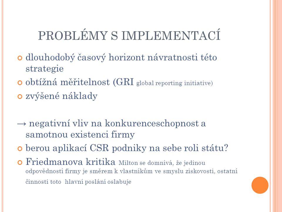 PROBLÉMY S IMPLEMENTACÍ dlouhodobý časový horizont návratnosti této strategie obtížná měřitelnost (GRI global reporting initiative) zvýšené náklady →