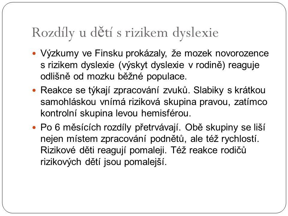 Neurobiologické základy čtení Dyslexie Následující snímky p ř evzaty Shaywitz Sally: Overcoming Dyslexia.