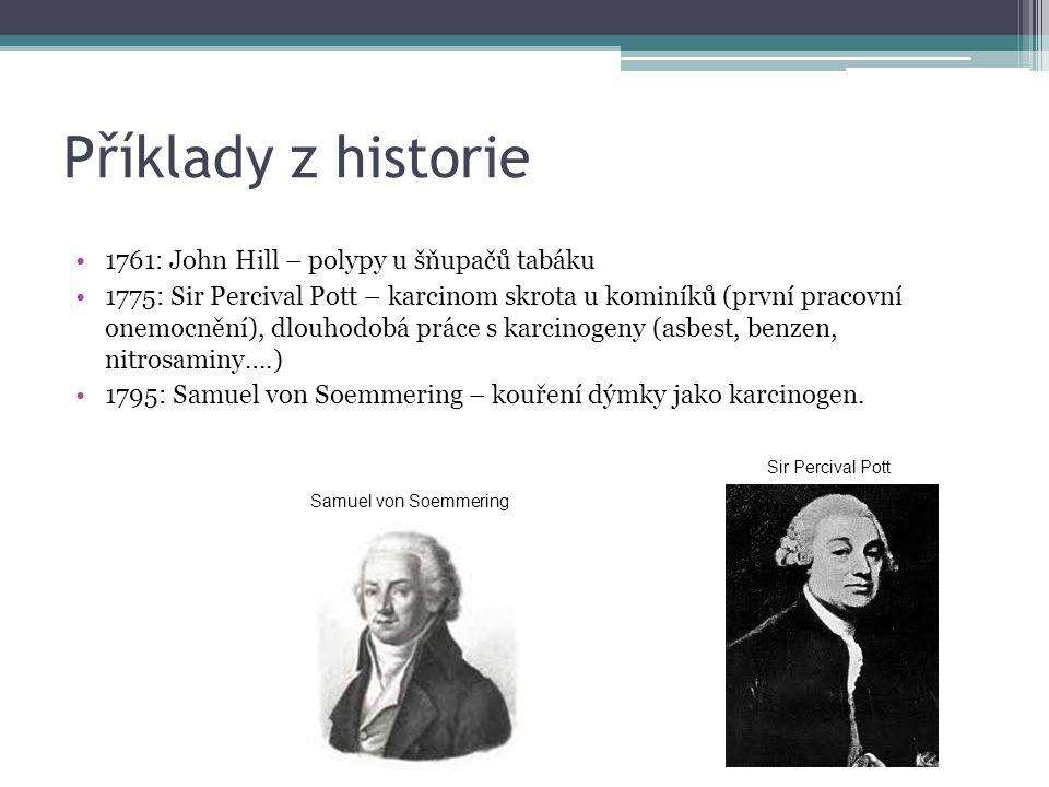 Příklady z historie 1761: John Hill – polypy u šňupačů tabáku 1775: Sir Percival Pott – karcinom skrota u kominíků (první pracovní onemocnění), dlouho