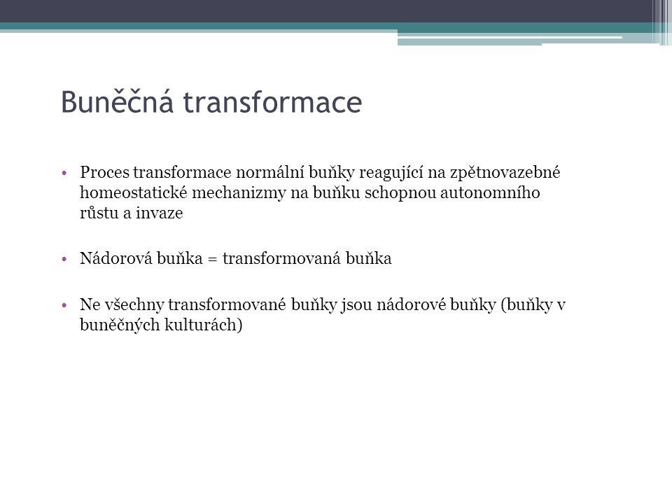 Buněčná transformace Proces transformace normální buňky reagující na zpětnovazebné homeostatické mechanizmy na buňku schopnou autonomního růstu a inva