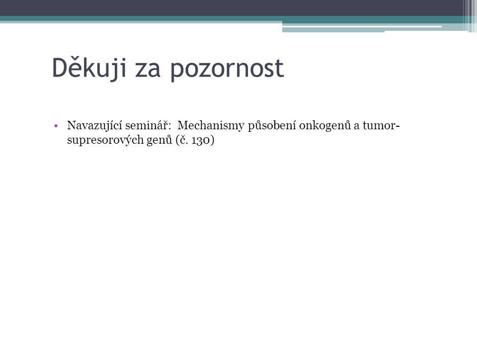 Děkuji za pozornost Navazující seminář: Mechanismy působení onkogenů a tumor- supresorových genů (č. 130)