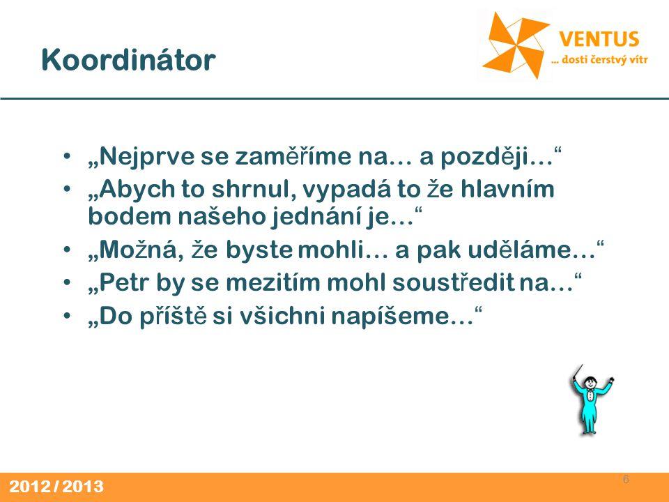 2012 / 2013 Koordinátor (2) 7 Up ř es ň uje cíle skupiny a stanoví program.