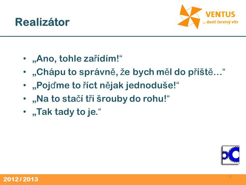 2012 / 2013 Realizátor (2) 10 P ř em ěň uje myšlenky na zvládnuté úkoly.