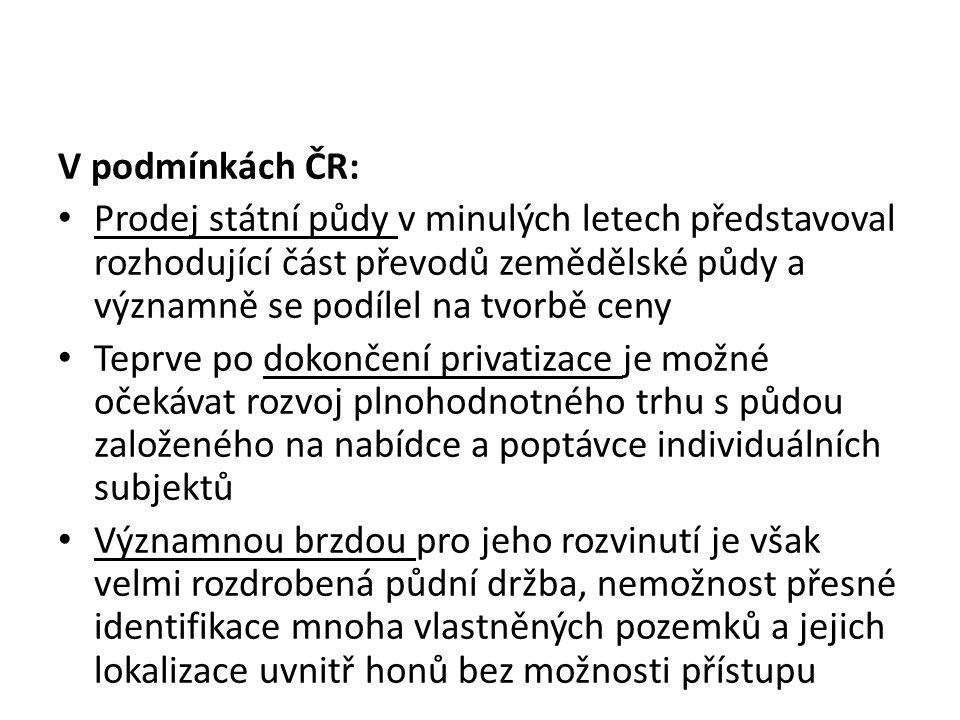 V podmínkách ČR: Prodej státní půdy v minulých letech představoval rozhodující část převodů zemědělské půdy a významně se podílel na tvorbě ceny Teprv
