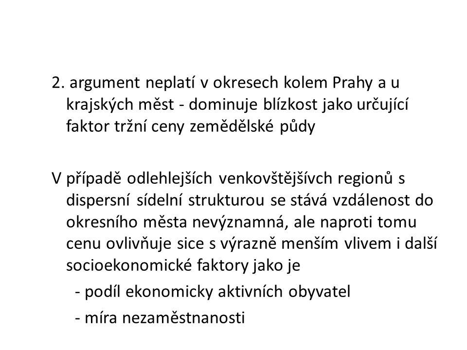 2. argument neplatí v okresech kolem Prahy a u krajských měst - dominuje blízkost jako určující faktor tržní ceny zemědělské půdy V případě odlehlejší