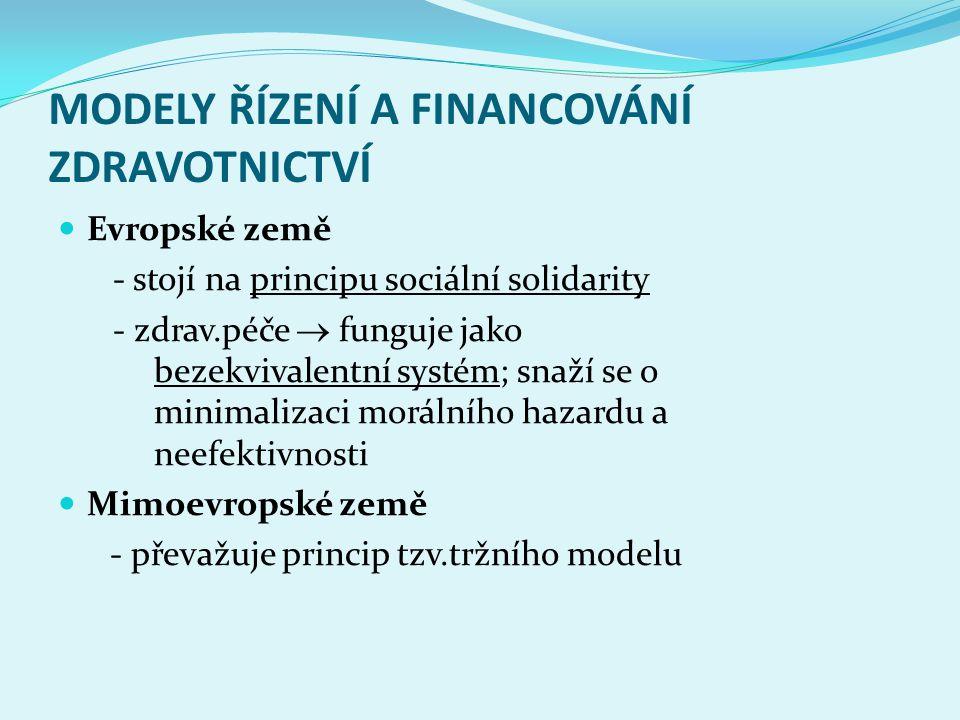 MODELY ŘÍZENÍ A FINANCOVÁNÍ ZDRAVOTNICTVÍ Evropské země - stojí na principu sociální solidarity - zdrav.péče  funguje jako bezekvivalentní systém; sn