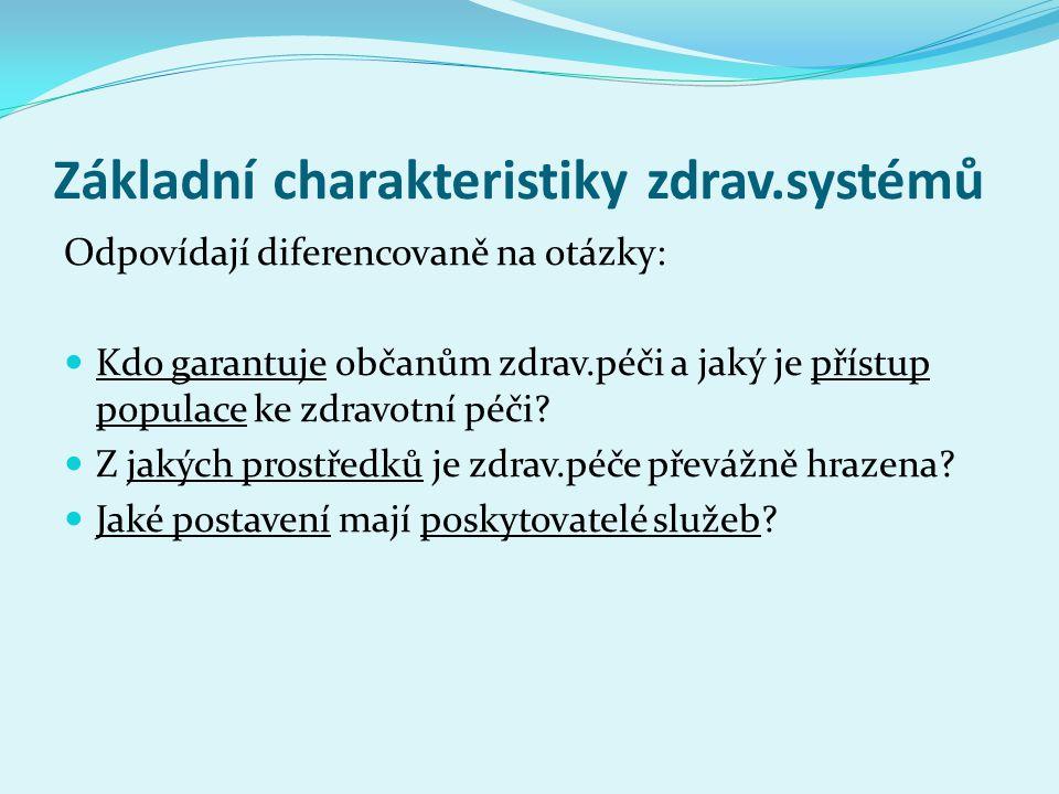 Základní charakteristiky zdrav.systémů Odpovídají diferencovaně na otázky: Kdo garantuje občanům zdrav.péči a jaký je přístup populace ke zdravotní pé