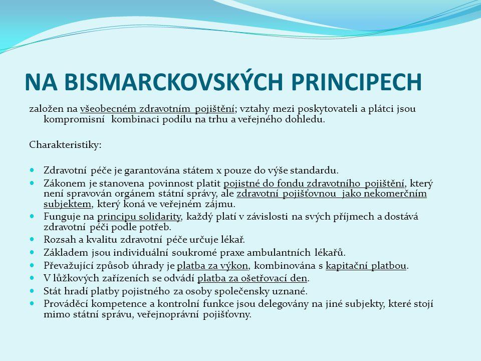 NA BISMARCKOVSKÝCH PRINCIPECH založen na všeobecném zdravotním pojištění; vztahy mezi poskytovateli a plátci jsou kompromisní kombinaci podílu na trhu