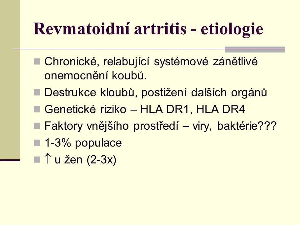Revmatoidní artritis - etiologie Chronické, relabující systémové zánětlivé onemocnění koubů.