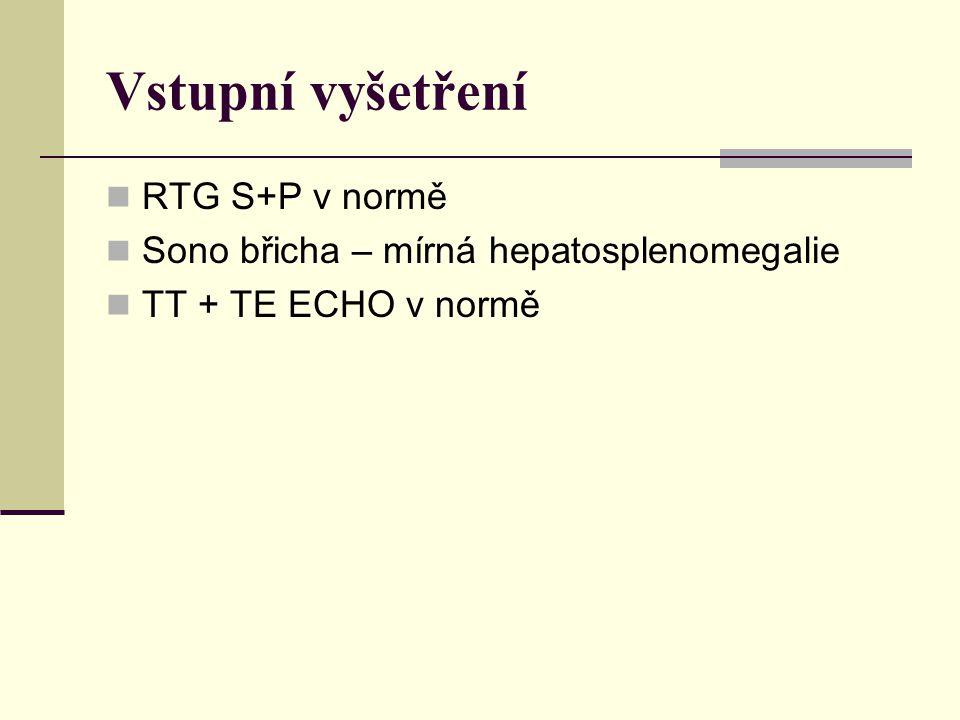 Vstupní vyšetření RTG S+P v normě Sono břicha – mírná hepatosplenomegalie TT + TE ECHO v normě