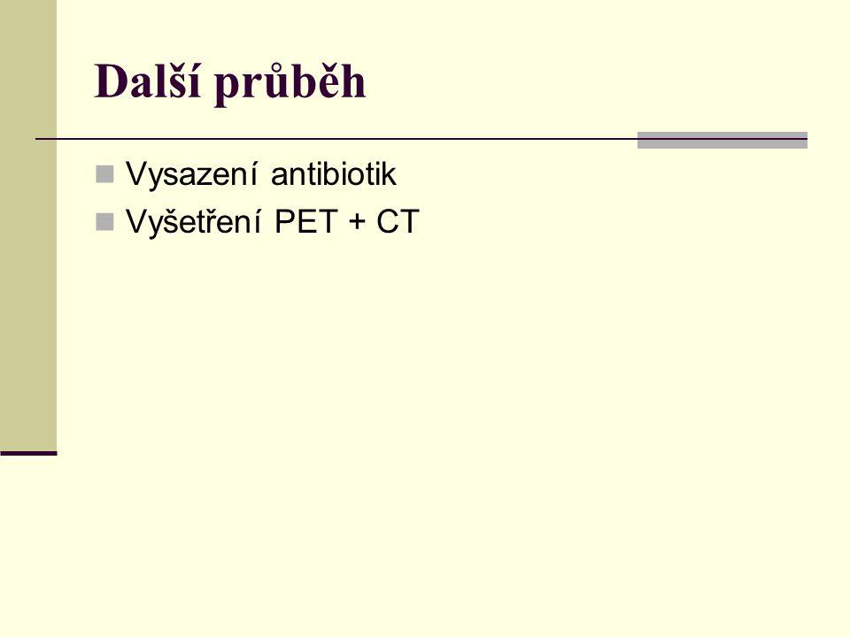 Další průběh Vysazení antibiotik Vyšetření PET + CT