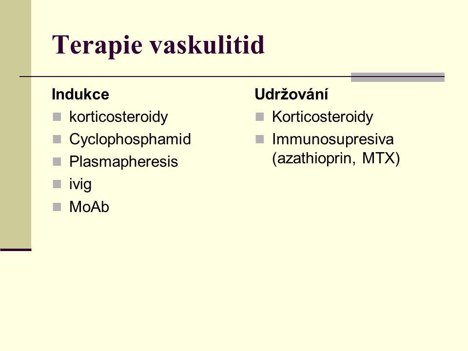 Terapie vaskulitid Indukce korticosteroidy Cyclophosphamid Plasmapheresis ivig MoAb Udržování Korticosteroidy Immunosupresiva (azathioprin, MTX)