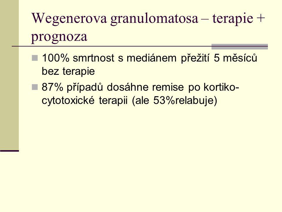 Wegenerova granulomatosa – terapie + prognoza 100% smrtnost s mediánem přežití 5 měsíců bez terapie 87% případů dosáhne remise po kortiko- cytotoxické terapii (ale 53%relabuje)