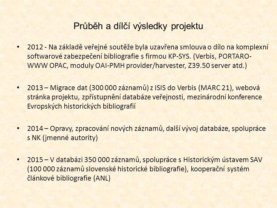Bibliografové, jejich databáze a uživatelé Oddělení historické bibliografie – 3,5 pracovního úvazku + studenti historie a příbuzných oborů Databáze – duben 2015 30 000 návštěv, z toho 80 % z Česka (v roce 2014 20 000) Uživatelé – vědečtí pracovníci, širší poučená veřejnost a především studenti VŠ